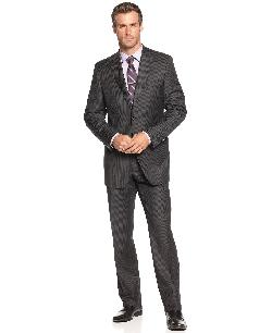 Lauren by Ralph Lauren  - Suit, Charcoal Stripe Slim Fit