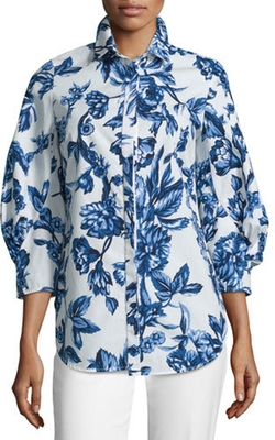 Lela Rose - Floral-Print Day Blouse