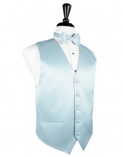 Cardi - Premiere Solid Satin Light Blue Tuxedo Vest