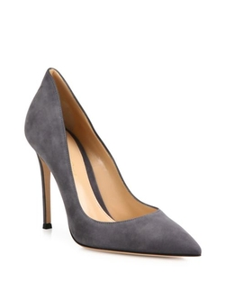 Gianvito Rossi  - Ellipsis High-Back Suede Point-Toe Pumps