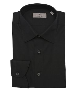 Canali - Solid Black Cotton Point Collar Dress Shirt