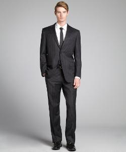 HICKEY FREEMAN  - Black Pinstripe Worsted Wool Two-Button Suit With Flat Front Pants