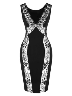 Romwe - V Neck Lace Bodycon Dress