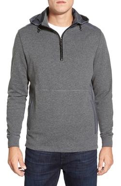 Bugatchi - Hooded Quarter Zip Sweater