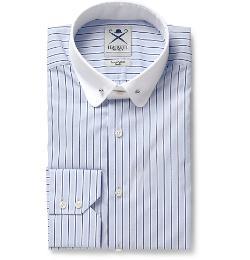HACKETT   - Slim-fit Contrast-collar Cotton-blend Shirt