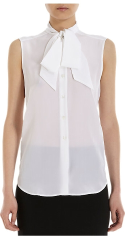 Barneys New York - Tie-Neck Sleeveless Blouse