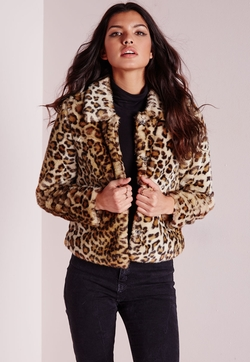 Missguided - Serena Cropped Faux Fur Coat Leopard