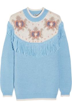 Miu Miu - Fringed Intarsia Knitted Sweater