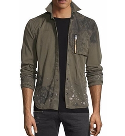 Just Cavalli - Distressed Long-Sleeve Military Shirt Jacket