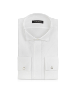 Forzieri - Cotton And Viscose French Cuff Tuxedo Shirt