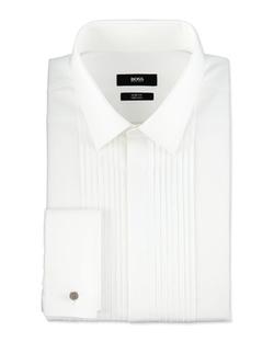 Boss Hugo Boss - Slim Fit Two Ply Pleated Tuxedo Shirt, White