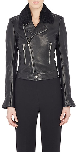 Balenciaga - Shearling-Collar Leather Moto Jacket