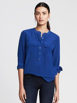 Banana Republic - Dark Silk Popover Blouse