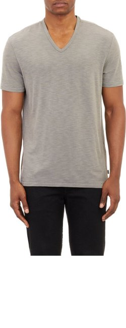 John Varvatos Star U.S.A.  - Variegated-Stripe Slub V-Neck T-Shirt