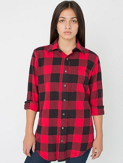 American Apparel - Brushed Plaid Cotton Twill Shirt