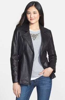 Marc New York by Andrew Marc  - Elongated Textured Leather & Knit Moto Jacket