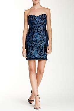 Jump  - Strapless Glittery Geo Slinky Dress