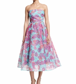 Monique Lhuillier - Strapless Floral Organza Fit & Flare Midi Dress