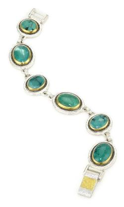 Gurhan  - Dark And White Silver With Gold Turquoise-color Bracelet
