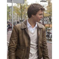 High Quality Real Leather - Ansel Elgort The Fault in Our Stars Jacket in Black Color