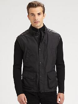 Black Label  - Modern Leather-Trim Vest