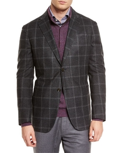Ermenegildo Zegna	  - Windowpane Two-Button Silk Blazer