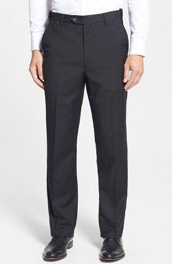 Berle  - Self Sizer Waist Flat Front Wool Trousers