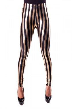 Mess Queen  - Black & Gold Striped Leggings