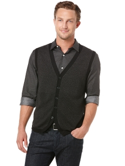Perry Ellis - Tonal Multi Pattern 5 Button Vest