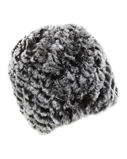 Belle Fare  - Knitted Rabbit Fur Reversible Puffy Hat