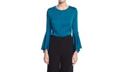 Milly - Ruthie Bell-Sleeve Stretch-Silk Crepe Blouse