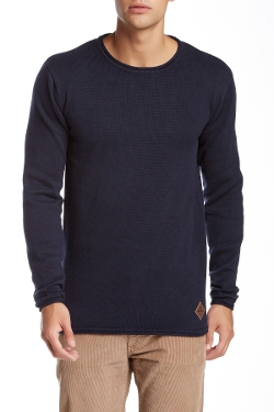 Shine  - Rolled Crew Neck Knit Long Sleeve Sweater