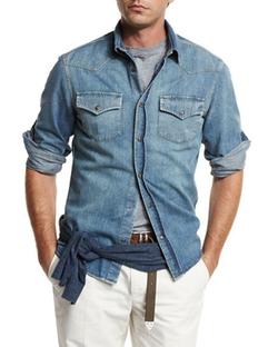 Brunello Cucinelli - Western-Style Button-Down Denim Shirt