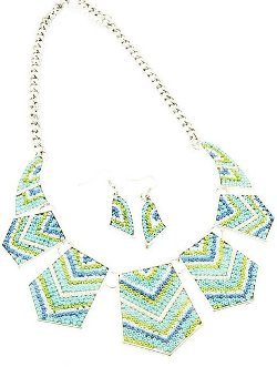 IceCarats  - Crystal Bead Chevron Necklace