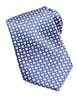 Stefano Ricci - Windowpane/Floral Pattern Silk Tie
