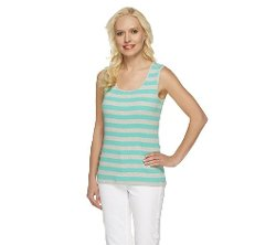 Denim & Co.  - Essentials Stripe Rib Tank