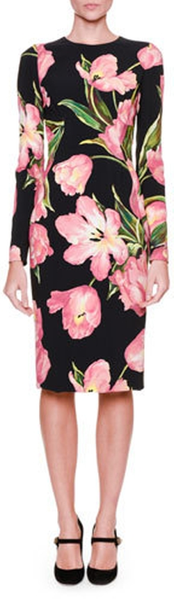 Dolce & Gabbana - Long-Sleeve Tulip-Print Dress