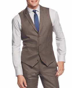 Bar III - Olive Multi-Check Slim-Fit Vest, Only At Macy