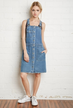 Forever 21 - Buttoned Denim Overall Dress