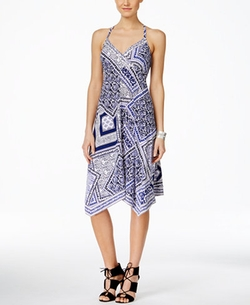 Inc International Concepts - Printed Handkerchief-Hem Dress