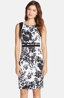 Adrianna Papell  - Floral Print Knit Sheath Dress