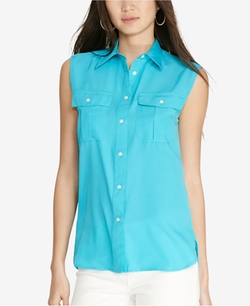 Lauren Ralph Lauren - Sleeveless Crepe Shirt