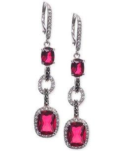 Judith Jack  - Sterling Silver Crystal Corundum Marcasite Linear Drop Earrings