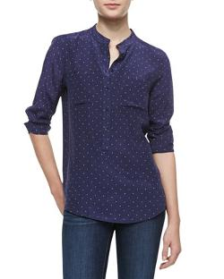 Equipment  - Ava Polka-Dot Silk Blouse