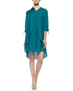Halston Heritage	 - Long-Sleeve Shirtdress