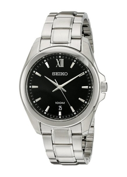 Seiko - Black Dial Stainless Steel Mens Watch