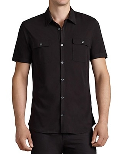 John Varvatos  - Silk-Cotton Blend Short Sleeve Button Down Shirt