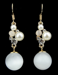 Romwe - Gold Pearl Dangle Earrings