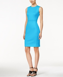Calvin Klein  - Sleeveless Scuba Crepe Sheath Dress