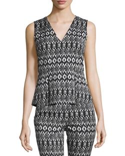 Diane Von Furstenberg - Ailey Printed Sleeveless Peplum Top